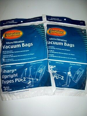 Sharp Twin Energy PU-2 Vacuum Bags-Micro Filtration-6 Bags-99.7% Filtration