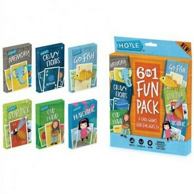 Hoyle 6 in 1 Pack Kids Playing Cards Games Go Fish Crazy 8s Old Maid Slapjack