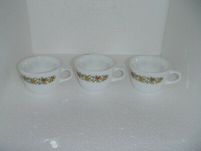 Set of 3 Pyrex coffee cups mugs corning ware spice of life pattern milk glass