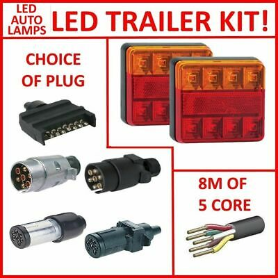 Pair Of Led Sq Trailer Lights, 1 X Plug, 8M X 5 Core Wire Kit Rewire Complete