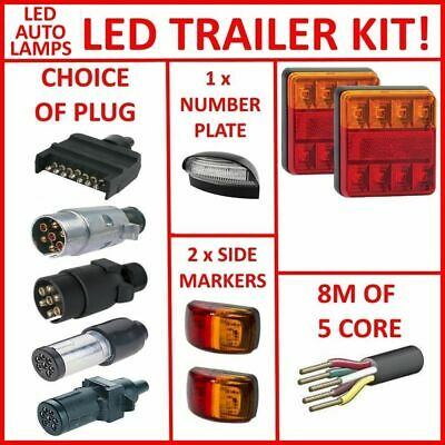 Pair Of Led Sq Trailer Lights, 2 X Side Markers, 1 X Plug, 8M X 5 Core Wire Kit