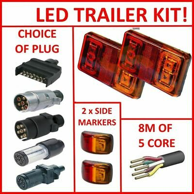 Pair Of Led Trailer Lights, 2 X Side Markers, 1 X Plug, 8M X 5 Core Wire Kit