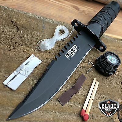 "8.5"" Tactical Fishing Hunting Survival Knife w/ Sheath Bowie Survival Kit Combat"