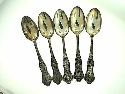 (5) Birks Epns Silverplate Military, Empire, & Canada Souvenir Spoons