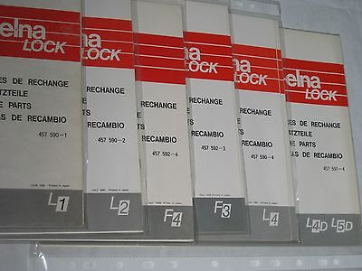 Elna Lock F4, F3, L2, L1, L4, L4D, L5D Over Locker Part Book.