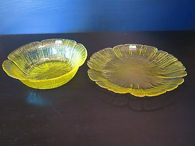 Stunning Yellow Japanese Mikasa Kurata Craft Glass Bowl And Plate