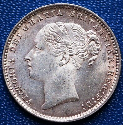 1883 UK Great Britain  Shilling KM# 734.4 Sterling Silver Coin Mint State UNC