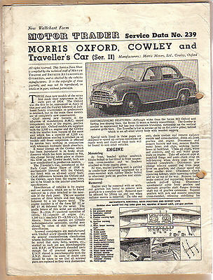 Morris Oxford Cowley & Traveller Series II Motor Trader Service Data No 239 1955