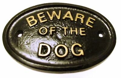"""""""Beware Of The Dog"""" House/Gate Sign Wall Sign In Black With Gold Raised Letters"""