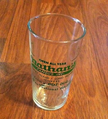 Vintage Circa 1959 Nathan's Famous Inc Hot Dog Habit Ad Glass Coney Island