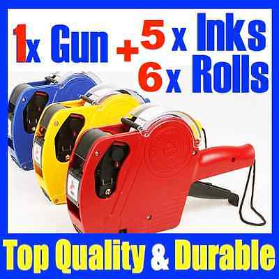 New 1 x Price Pricing Tag Tag Gun Labeller +6 Rolls Labels + 5 x Inks - NG11