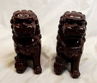 """Vtg Resin Foo Dog Pair Red Guardian Lion Dragon Chinese 5 1/2"""" Tall Protection"""