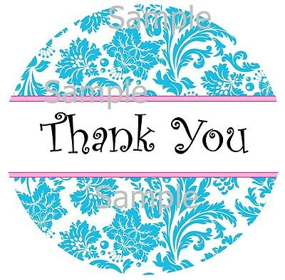 Thank You Stickers In  Blue Damask And Pink Trim ~  Sticker Labels