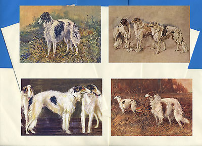 Borzoi Pack Of 4 Vintage Style Dog Print Greetings Note Cards #1