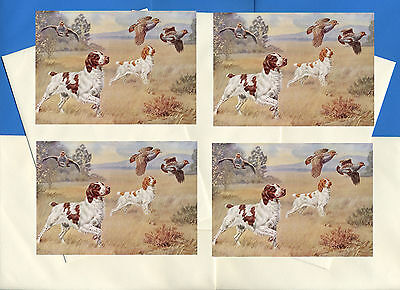 Brittany Spaniel Pack Of 4 Vintage Style Dog Print Greetings Note Cards