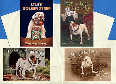 ENGLISH BULLDOG PACK OF 4 VINTAGE STYLE DOG PRINT GREETINGS NOTE CARDS #3