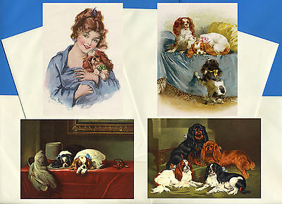 Cavalier King Charles Spaniel  4 Vintage Style Dog Print Greetings Note Cards #1