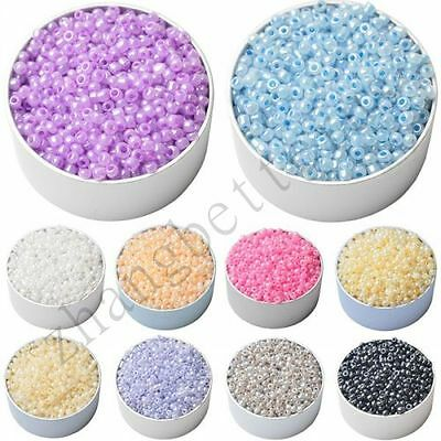1000 Pcs Big Hole Round Bead Glass Spacer Loose Beads Jewelry Finding 3 mm