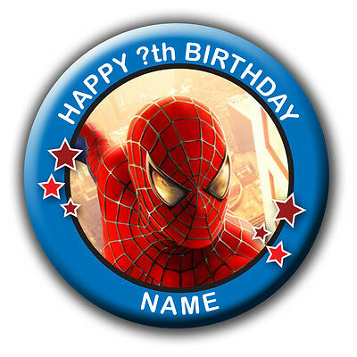Personalised Spiderman Boys Birthday Huge Badges/fridge Magnets/mirrors - 58Mm