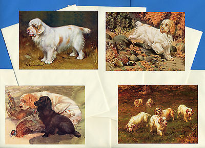 Clumber Spaniel Pack Of 4 Vintage Style Dog Print Greetings Note Cards #2
