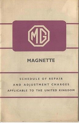 MG Magnette Schedule of Repair Charges 1956 ZA