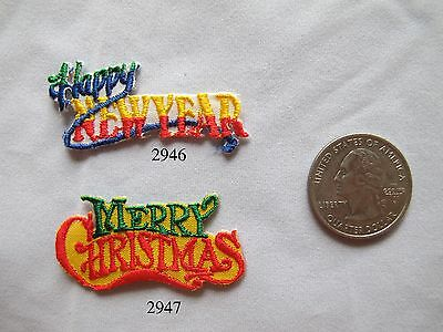Lot 2Pcs HAPPY NEW YEAR,MERRY CHRISTMAS word Embroidery Iron On Applique Patch