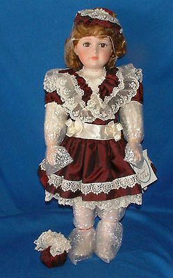 "Court of Dolls Porcelain Collection -  LE ""Pretty in Burgandy"" 24"" lot 932"