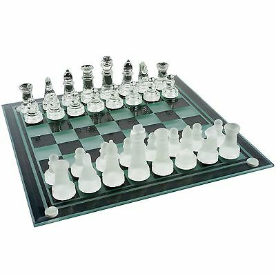 Elegant Glass Chess Set 9.75 inches Includes Checkers Pieces
