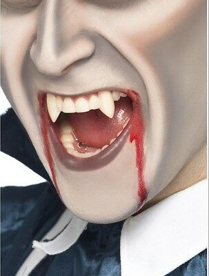 White Vampire Fangs Deluxe Prosthetic Tooth Caps & Custom Mounting Putty NEW