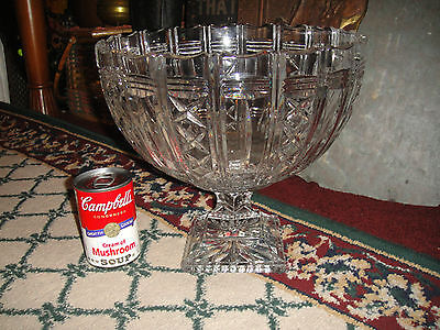 "Superb Large Cut Glass Footed Fruit Bowl-""x"" Patterns-10.6LBS-Brilliant Glass"