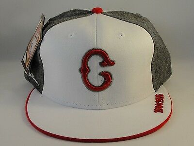 Indianapolis Clowns Negro League Headgear Fitted Hat Cap White Gray