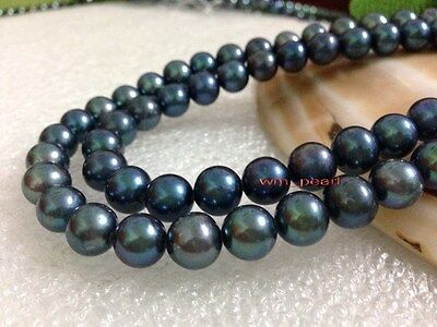 """AAAAA 35""""10-11mm REAL NATURAL round south sea black pearl necklace 14K GOLD"""