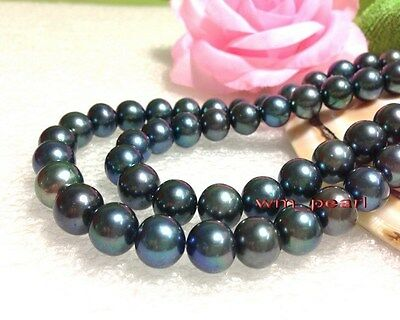 """AAAAA 35""""11-12mm REAL south sea round black GREEN pearl necklace 14k GOLD"""