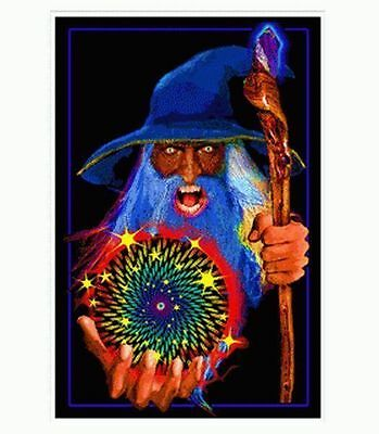Mystic Wizard - Blacklight Poster - 23X35 Flocked Fantasy 1971