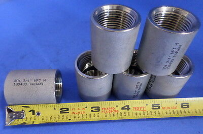 """Ss 3/4"""" Npt H Coupling 139433 Nnb, Lot Of 6"""