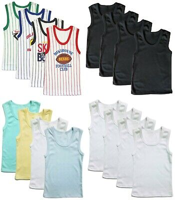 Underwear Undershirt Boys Tank Top Solid Colors 3-Pack White Blue Yellow Toddler