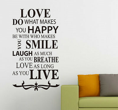 Love Inspirational Quotes Art Vinyl Wall Sticker, Home Wall Decal- HIGH QUALITY