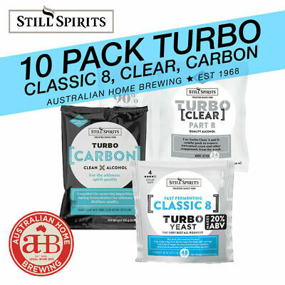 10 Pack Still Spirits Turbo Classic 8 Yeast Turbo Carbon Turbo Clear