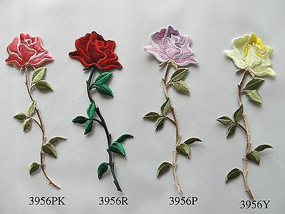 "#5070 5-1//4/"" Red Purple Rose Flower Embroidery Iron On Applique Patch"