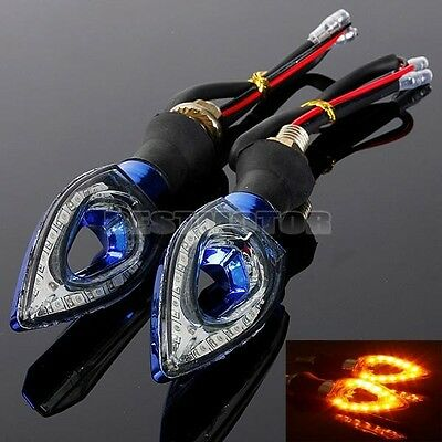2x 12LED BENDABLE MOTORCYCLE SCOOTER TURN SIGNAL INDICATOR LIGHT LAMP BLUE CASE