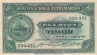 Banknote 1940 Timor 10 Avos in very fine condition, uncommon note