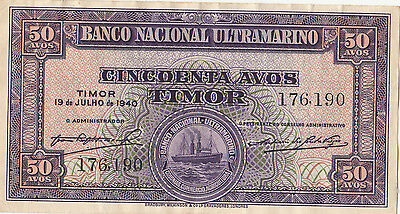 Banknote 1940 Timor 50 Avos in very fine condition, uncommon note