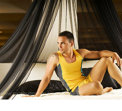 Black Resort Style Mosquito Net Modern Bed Canopy - One Size Fits all Beds