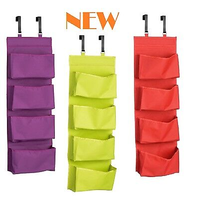 Over Door Hanging Organiser, 4 Tier, Choice  Red, Lime Green, Purple, Polyester