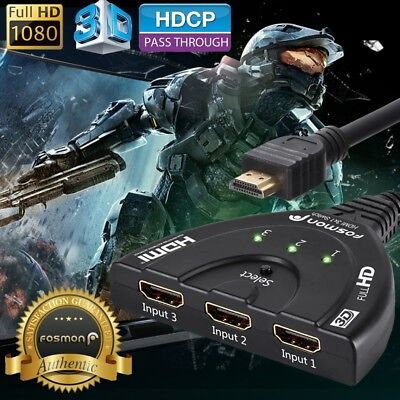 Fosmon 3x1 3 Port 1080P 3D Ready Compact Auto HDMI Switch Cable Adapter for HDTV