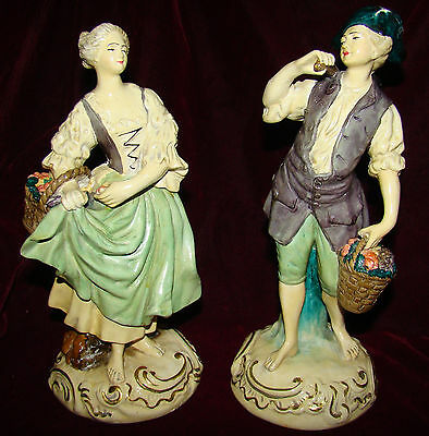 Pair Of Vintage Borghese Italy Figurines Boy Amp Girl With