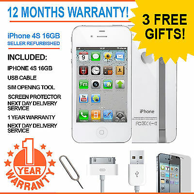 Apple iPhone 4S - 16 GB - White (Unlocked) Smartphone - Preowned