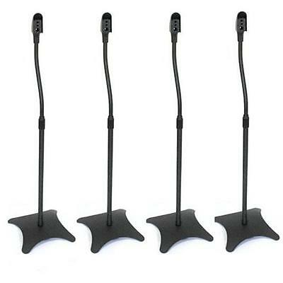 4x BLACK SPEAKER STANDS HEIGHT ADJUSTABLE HOME CINEMA *FREE P&P SPECIAL OFFER