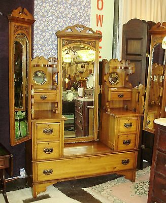 "ANTIQUE VICTORIAN ""PETTICOAT"" SITTER VANITY DRESSER SWINGING BEVELED MIRRORS"