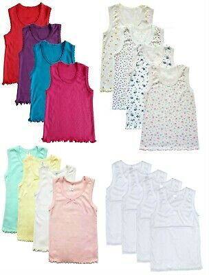 4 Pack Girls Regular Straps Tank Tops Undershirts Cami 100% Cotton Toddler Baby